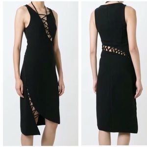 Opening Ceremony 8 Black Lace Up Detail Dress